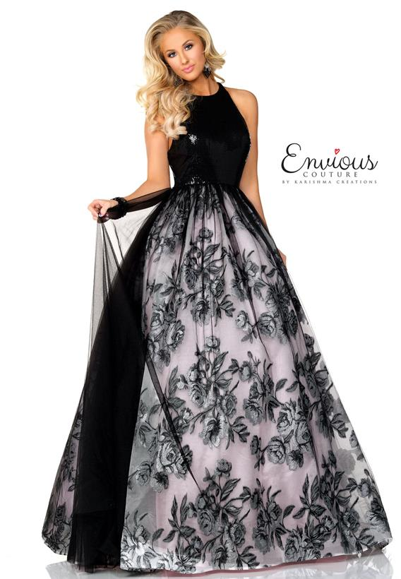 Printed Organza/ Sequined Tulle Overlay Black,Pink E1045