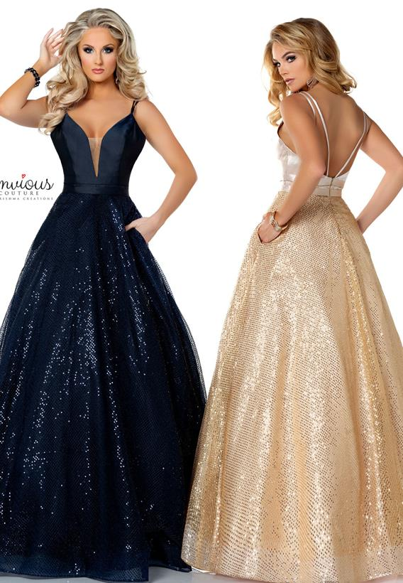 Sequined Mikado Navy,Champagne E1203