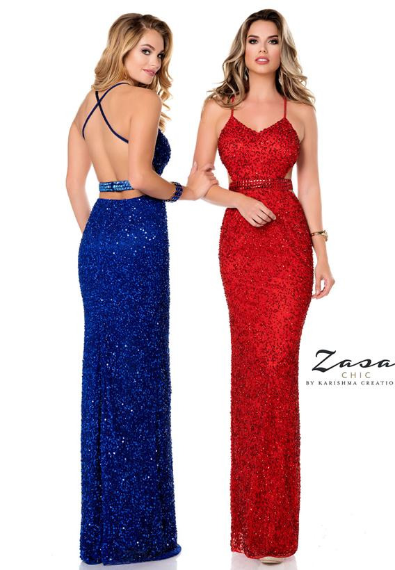 Beaded Tulle Jazzy Red,Cobalt K2036