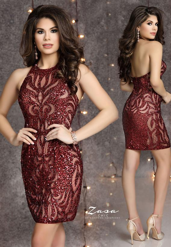 Beaded Tulle Burgundy K2125
