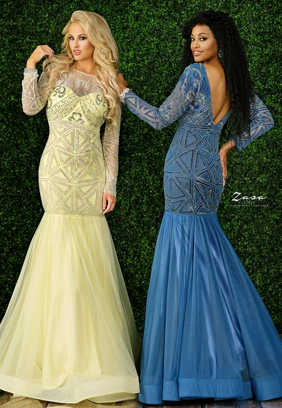 Beaded Tulle Lt. Yellow,Steel Blue K2230