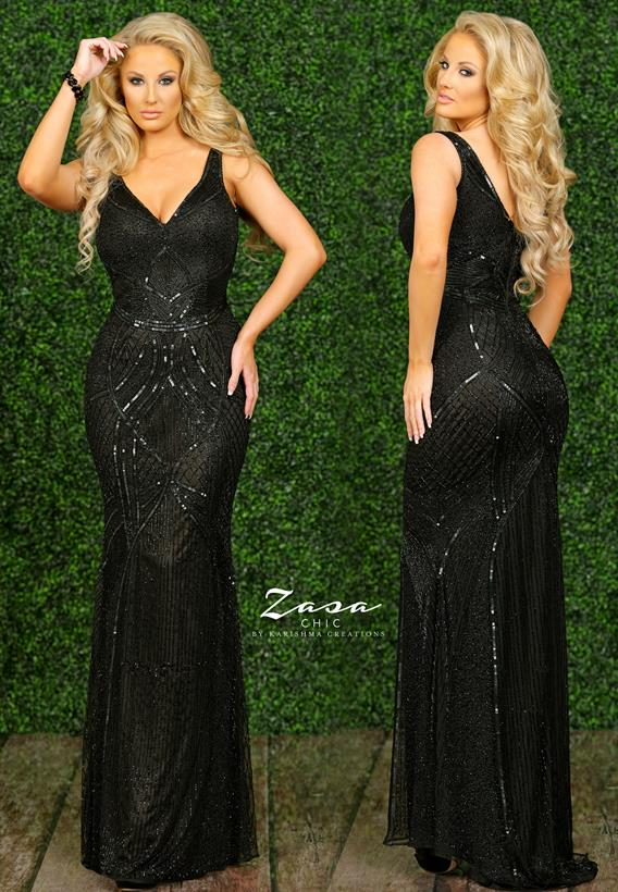 Beaded Tulle Black K2278
