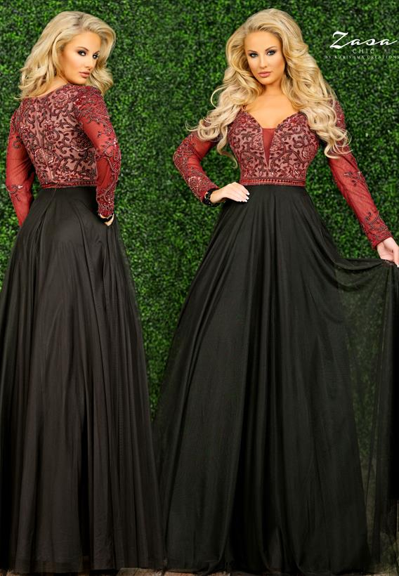 Beaded Tulle Wine,Black K2298