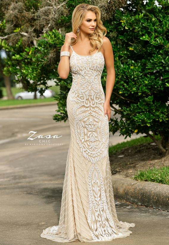 Beaded Tulle Nude K2309
