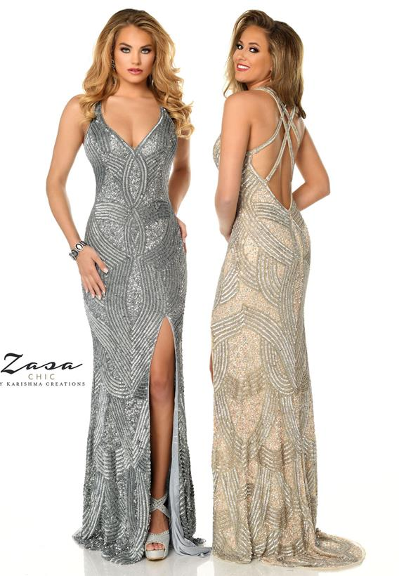 Beaded Tulle Platinum,Nude Z2054