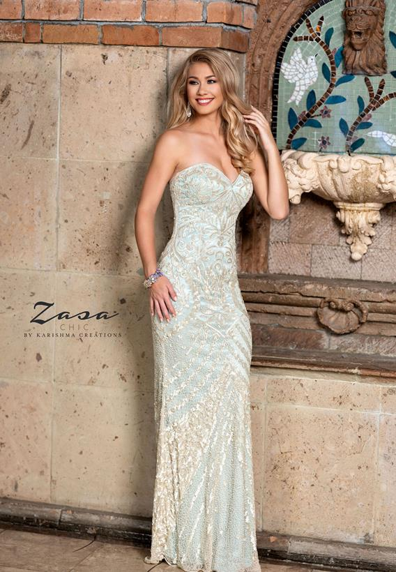 Beaded Tulle Champagne,Aqua Z2055