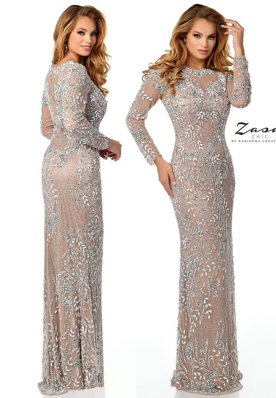 Beaded Tulle Nude,Gunmetal Z2065