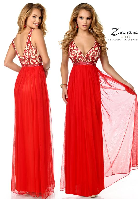 Beaded Tulle Red Z2073